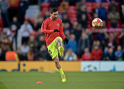 MANCHESTER, ENGLAND - Thursday, April 11, 2019: Barcelona's captain Lionel Messi during the pre-match warm-up before the UEFA Champions League Quarter-Final 1st Leg match between Manchester United FC and FC Barcelona at Old Trafford. (Pic by David Rawcliffe/Propaganda)