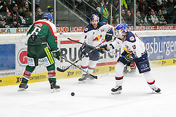 20.02.2015, Curt-Frenzel-Stadion, Augsburg, GER, DEL, Augsburger Panther vs EHC Red Bull München, 49. Runde, im Bild l-r: im Zweikampf, Aktion, mit Greg Moore #26 (Augsburger Panther) und Daryl Boyle #6 (EHC Red Bull Muenchen), Michael Wolf #13 (EHC Red Bull Muenchen) // during Germans DEL Icehockey League 49th round match between Adler Mannheim and Grizzly Adams Wolfsburg at the Curt-Frenzel-Stadion in Augsburg, Germany on 2015/02/20. EXPA Pictures © 2015, PhotoCredit: EXPA/ Eibner-Pressefoto/ Kolbert<br /> <br /> *****ATTENTION - OUT of GER*****