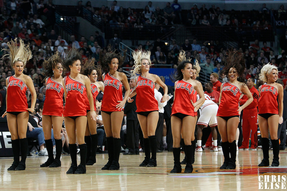 16 March 2012: The Chicago Bulls Luvabulls perform during the Portland Trail Blazers 100-89 victory over the Chicago Bulls at the United Center, Chicago, Illinois, USA.