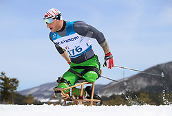 Belarus' Yauheni Lukyanenka competes in the Men's 7.5km, Sitting Cross Country Skiing, at the Alpensia Biathlon Centre during day eight of the PyeongChang 2018 Winter Paralympics in South Korea