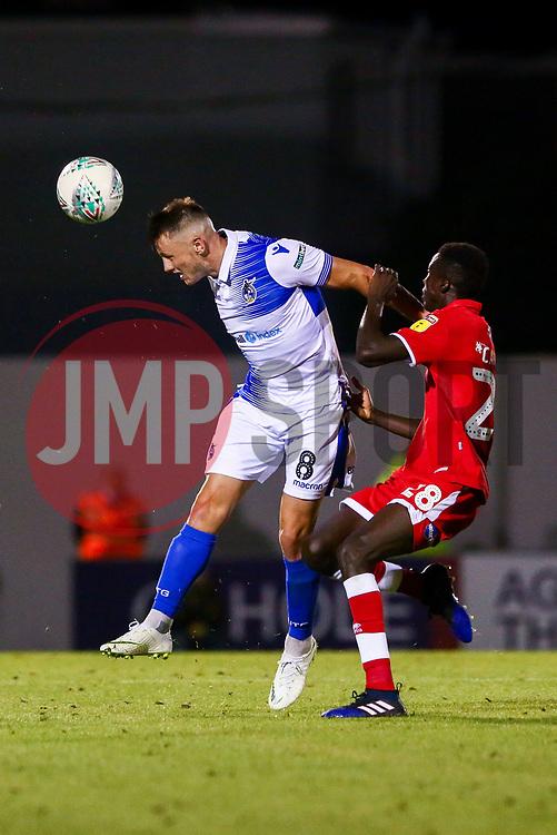 Ollie Clarke of Bristol Rovers is marked by Panutche Camara of Crawley Town - Mandatory by-line: Ryan Hiscott/JMP - 14/08/2018 - FOOTBALL - Memorial Stadium - Bristol, England - Bristol Rovers v Crawley Town - Carabao Cup