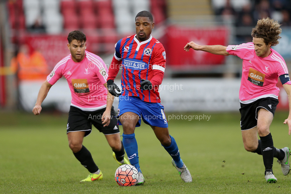 Andre Boucaud, Dagenham &amp; Redbridge captain (c) in action. The Emirates FA Cup, 2nd round match, Dagenham &amp; Redbridge v Whitehawk FC at the The London Borough of Barking &amp; Dagenham Stadium in London on Sunday 6th December 2015.<br /> pic by John Patrick Fletcher, Andrew Orchard sports photography.