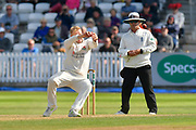 Matt Parkinson of Lancashire is not quick enough to take a catch from a shot driven back at him by Lewis Gregory of Somerset during the Specsavers County Champ Div 1 match between Somerset County Cricket Club and Lancashire County Cricket Club at the Cooper Associates County Ground, Taunton, United Kingdom on 5 September 2018.
