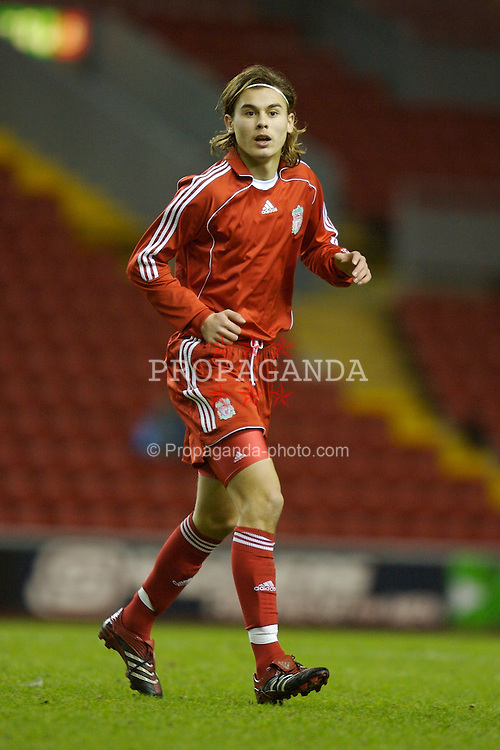 Liverpool, England - Friday, January 26, 2007: Liverpool's Astrit Ajdarevic in action against Reading during the FA Youth Cup 5th Round match at Anfield. (Pic by David Rawcliffe/Propaganda)