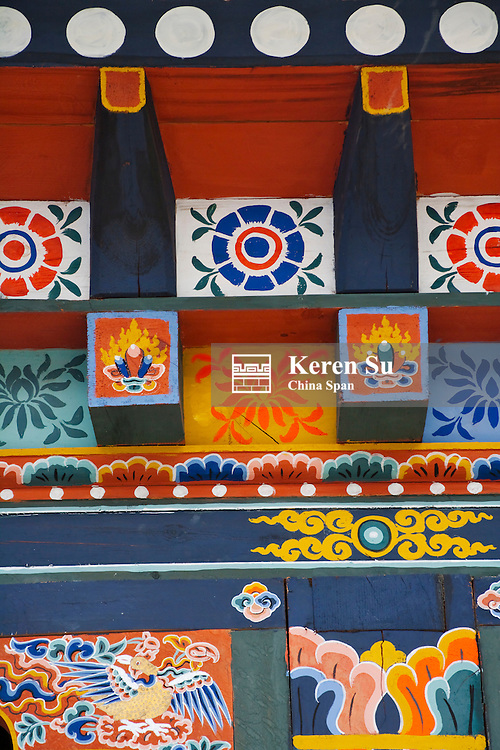 Architectural details of traditional houses, Trongsa, Bhutan