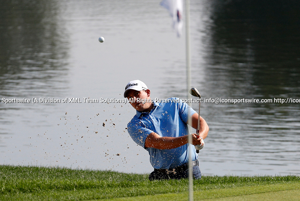 CROMWELL, CT - JUNE 23: Scott Stallings hits from the bunker on 16 during the second round of the Travelers Championship on June 23, 2017, at TPC River Highlands in Cromwell, Connecticut. (Photo by Fred Kfoury III/Icon Sportswire)
