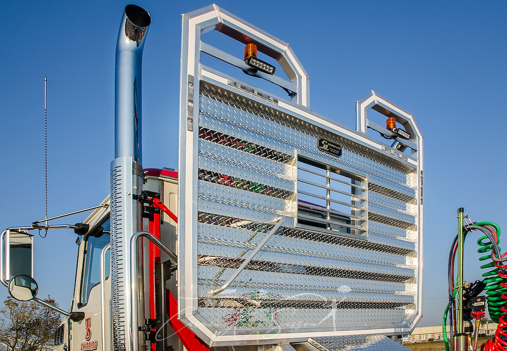 A Mack Granite truck's headache rack is pictured at Shealy Truck Center, Nov. 16, 2016, in Columbia, S.C. Headache racks protect inhabitants in the cab from loads that may shift during a quick stop. (Photo by Carmen K. Sisson/Cloudybright)