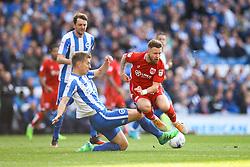 Uwe Hunemeier of Brighton & Hove Albion sliding tackle on Matt Taylor of Bristol City - Mandatory by-line: Jason Brown/JMP - 29/04/2017 - FOOTBALL - Amex Stadium - Brighton, England - Brighton and Hove Albion v Bristol City - Sky Bet Championship