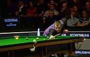 20.02.2016. Cardiff Arena, Cardiff, Wales. Bet Victor Welsh Open Snooker semi-finals. Mark Allen versus Neil Robertson. Mark Allen at the table