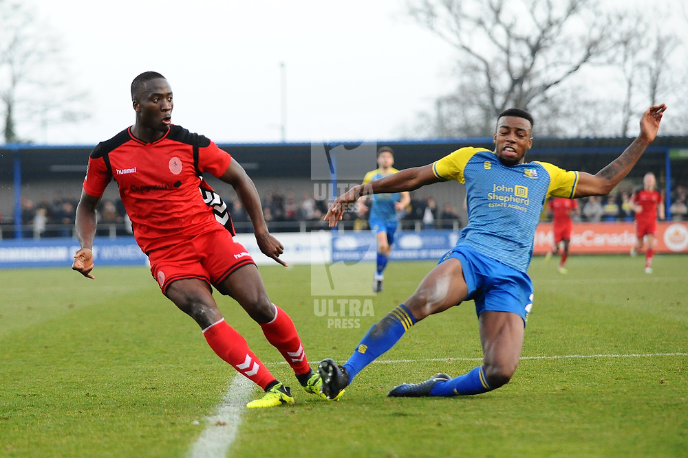 TELFORD COPYRIGHT MIKE SHERIDAN 23/2/2019 - GOAL. Dan Udoh of AFC Telford scores in the dying moments to make it 2-1 during the FA Trophy quarter final fixture between Solihull Moors and AFC Telford United at the Automated Technology Group Stadium
