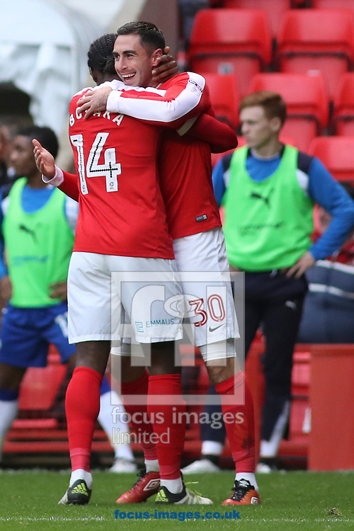 Charlton Athletic forward Jordan Botaka (14) congratulates Charlton Athletic forward Lee Novak (30) after he scored the only goal of the match during the Sky Bet League 1 match at The Valley, London<br /> Picture by Toyin Oshodi/Focus Images Ltd 07984788195<br /> 29/10/2016