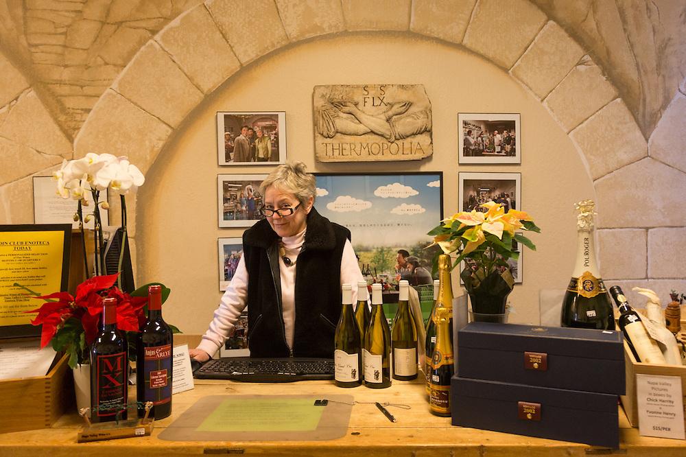 """I 'm celebrating 20 years of business next week.""   -Owener Margaux Singleton at Enoteca Wine Shop in downtown Calistoga"