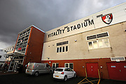 Stormy skies over the Vitality Stadium before the Barclays Premier League match between Bournemouth and Southampton at the Goldsands Stadium, Bournemouth, England on 1 March 2016. Photo by Graham Hunt.