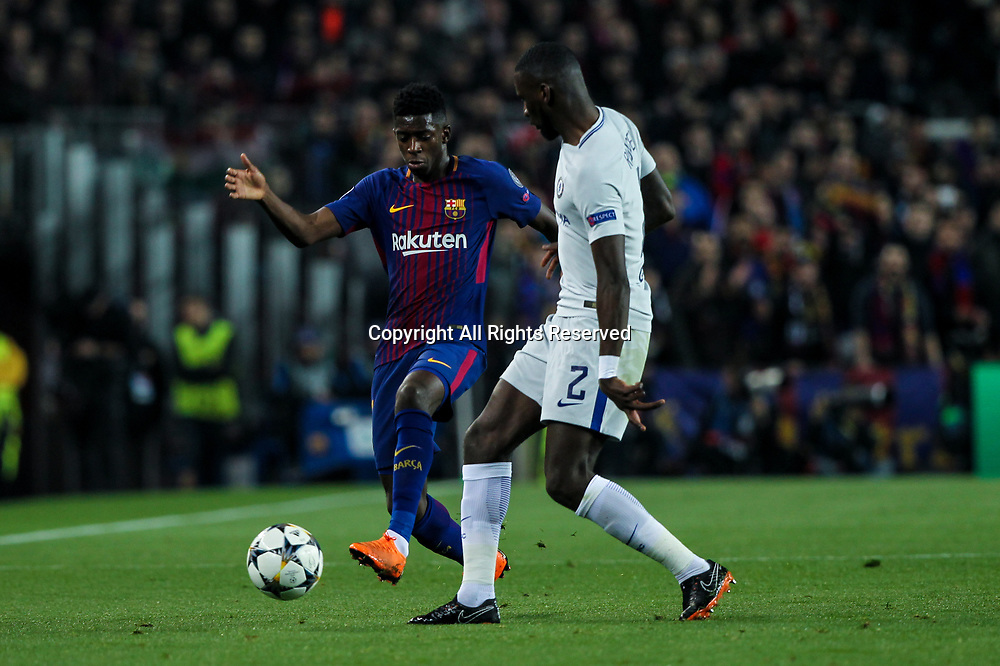 14th March 2018, Camp Nou, Barcelona, Spain; UEFA Champions League football, round of 16, 2nd leg, FC Barcelona versus Chelsea; Ousmane Dembele, #11 of Barcelona looks to take on Antonio Rudiger of  Chelsea