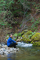 Enjoying the scenic Big Sur River, Sykes Hot Springs, Big Sur, California.