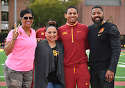 Mar 24, 2018; Los Angeles, CA, USA; Robert Ford. (second from left) poses with Joanne King (second from right), Pervis  King(right) and Southern California Trojans coach Caryl Smith-Gilbert during the Power 5 Trailblazer challenge at Cromwell Field.
