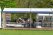 Henley on Thames. United Kingdom.   2018 Henley Royal Regatta, Henley Reach. <br />   <br /> Course Construction, General View , tents being fitted out.<br /> <br /> Wednesday  25/04/2018<br /> <br /> [Mandatory Credit: Peter SPURRIER:Intersport Images]<br /> <br /> Leica Camera AG  LEICA M (Typ 262)  f6.8  1/360sec  mm  29.1MB
