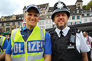 Police officers from Basel and Liverpool in a city square in Basel pictured ahead of the UEFA Europa League Final at St. Jakob-Park, Basel<br /> Picture by Kristian Kane/Focus Images Ltd 07814482222<br /> 18/05/2016
