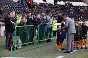 Parents take pictures as the Mascots get interviewed prior to the EFL Sky Bet Championship match between Hull City and Cardiff City at the KCOM Stadium, Kingston upon Hull, England on 28 April 2018. Picture by Mick Atkins.