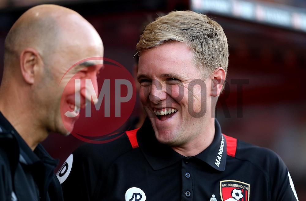 Manager of Bournemouth, Eddie Howe shares a joke with Manager of Valencia Pako Ayestaran - Mandatory by-line: Robbie Stephenson/JMP - 03/08/2016 - FOOTBALL - Vitality Stadium - Bournemouth, England - AFC Bournemouth v Valencia - Pre-season friendly