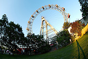 The Riesenrad (Ferris wheel) at the Prater, Vienna's famous luna park. Sunset pee.