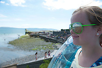 18/06/2014  Colorado girl Ciara Kuhn  who is in Ireland visiting her relatives in Athy Co. Kildare at the beach in Salthill Galway. Photo:Andrew Downes