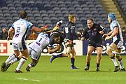 Bill Mata is tackled by Gregory Fichten during the Heineken Champions Cup match between Edinburgh Rugby and Montpellier Herault Rugby at BT Murrayfield Stadium, Edinburgh, Scotland on 18 January 2019.