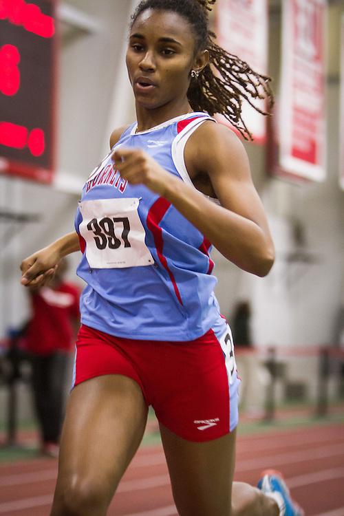 Boston University Multi-team indoor track & field, women 400 meter heat 4, Delaware State, Clark, 397