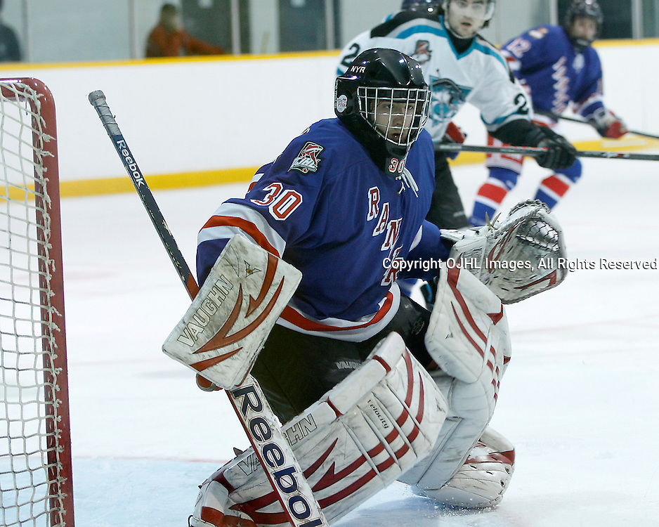 Lindsay, ON - Jan 31 : Ontario Junior Hockey League game action between the Lindsay Muskies and the North York Rangers. Jason Pucciarelli #30 of the North York Rangers Hockey Club during second period game action.<br /> (Photo by Tim Bates / OJHL Images)