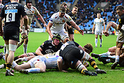 Wasps hooker Tom Kruse  scores a try during the Aviva Premiership match between Wasps and Exeter Chiefs at the Ricoh Arena, Coventry, England on 18 February 2018. Picture by Dennis Goodwin.