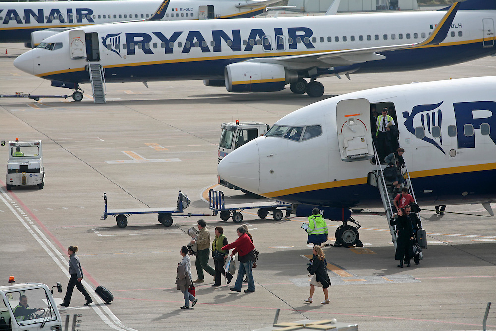 Headquarters of the Irish low cost airline company Ryanair in the airport of Girona-Barcelona..Airport of Girona-Costa Brava. Catalonia. Spain.