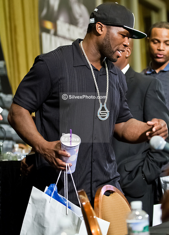 LAS VEGAS - MAY 5: Rapper Curtis '50 Cent' Jackson attends the Mayweather vs Cotto post-fight press conference after Mayweather defeated Cotto held at the MGM Grand Resort & Casino. Las Vegas, NV. All fees must be ageed prior to publication, Byline and/or web usage link must  read Eduardo E. Silva/SILVEX.PHOTOSHELTER.COM Failure to byline correctly will incur double the agreed fee.