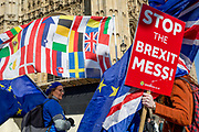 On the day that Prime Minister Theresa May returns to Brussels to negotiate an expected Brexit delay, pro-EU remainers protest outside parliament in Westminster, in London, England.