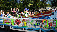 """The Lake Shore Park float is """"cruisin' any which way they can"""" during the Gilford Old Home Day parade on Saturday morning.  (Karen Bobotas/for the Laconia Daily Sun)"""