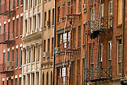 Fire escape on exterior of building, Lower Manhattan, New York, USA