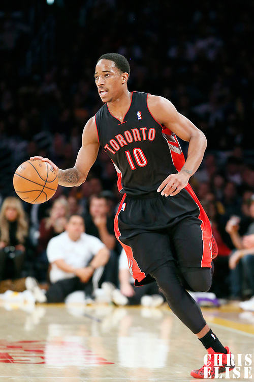 08 December 2013: Toronto Raptors shooting guard DeMar DeRozan (10) brings the ball upcourt during the Toronto Raptors 106-94 victory over the Los Angeles Lakers at the Staples Center, Los Angeles, California, USA.