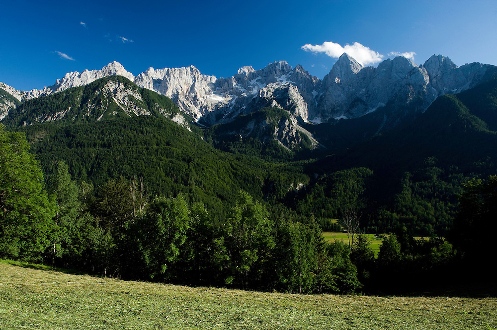 Julian Alps, Mount Spik, view from Gozd-Martuljek<br /> Triglav National Park, Slovenia<br /> July 2009