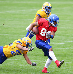 29.07.2010, Brita Arena, Wiesbaden, GER, Football EM 2010, Team Sweden vs Team Great Britain, im Bild Clive Palumbo, (Team Great Britain, WR, #80) entkommt dem Tackelversuch von Rikard Robbins, (Team Sweden, DB, #25) ,  EXPA Pictures © 2010, PhotoCredit: EXPA/ T. Haumer / SPORTIDA PHOTO AGENCY