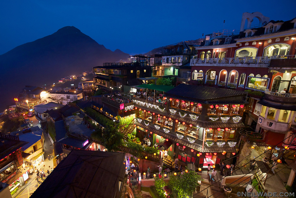 Old Japanese tea houses line the hill side in Jiufen, Taiwan