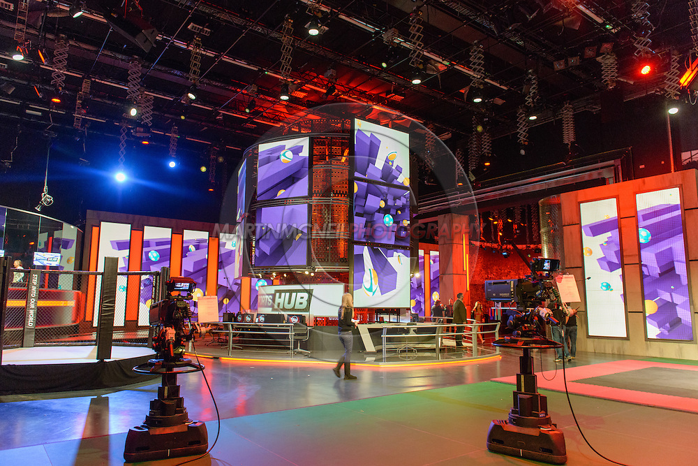 "LONDON, ENGLAND, March 4, 2014: The ""Beyond the Octagon"" set is pictured ahead of the broadcast on Tuesday, March 4, 2014 © Martin McNeil for IPC Media"