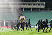 England players run from the pitch sprinkler that goes off while they are on the pitch during the UEFA European 2020 Qualifier match between Bulgaria and England at Stadion Vasil Levski, Sofia, Bulgaria on 14 October 2019.