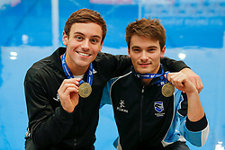 Tom Daley and Daniel Goodfellow from Dive London Aquatics Club and Plymouth Diving pose with their Gold Medals after winning the Mens Synchronised 10m Platform Final - Mandatory byline: Rogan Thomson/JMP - 23/01/2016 - DIVING - Southend Swimming & Diving Centre - Southend-on-Sea, England - British National Diving Cup Day 2.