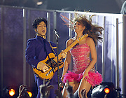 LOS ANGELES - FEBRUARY 8:  Singer/actress Beyonce Knowles and muscian Prince perform at the 46th Annual Grammy Awards held at the Staples Center on February 8, 2004 in Los Angeles, California.  (Photo by Frank Micelotta/Getty Images)