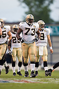 JACKSON, MS - AUGUST 26:  Offensive guard Jahri Evans of the New Orleans Saints walks up to the line of scrimmage during the game against the Indianapolis Colts on August 26, 2006 at Veterans Memorial Stadium in Jackson, Mississippi.  The Colts won 27 to 14.  (Photo by Wesley Hitt/Getty Images) *** Local Caption *** Jahri Evans