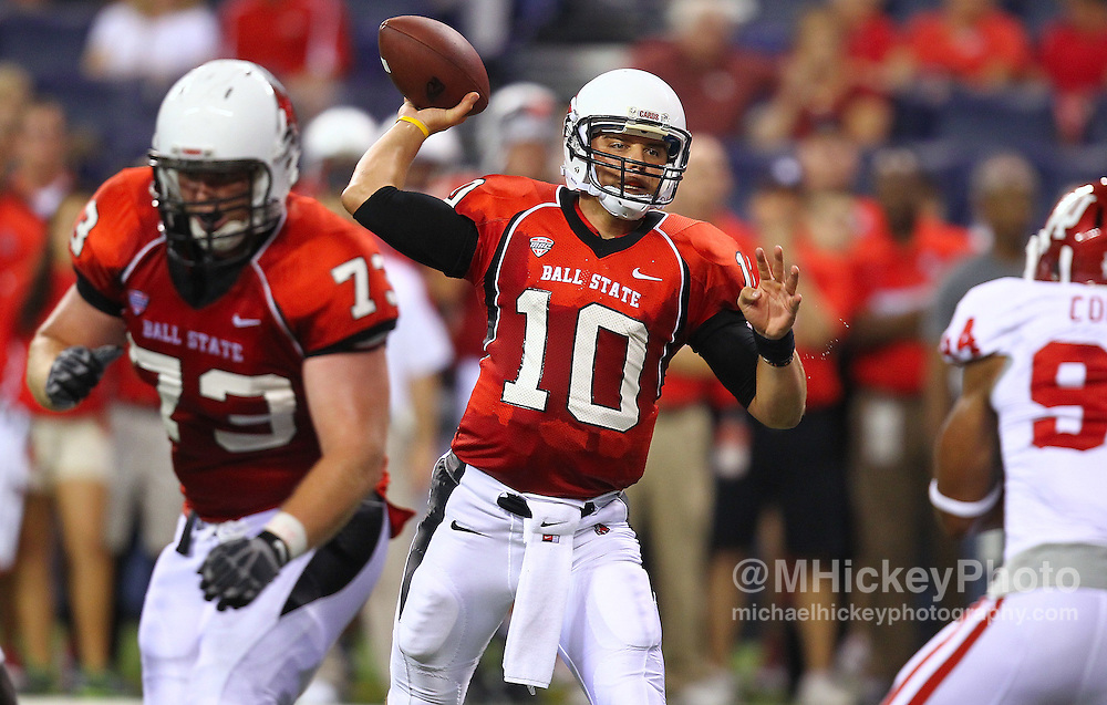 Sept. 03, 2011; Indianapolis, IN, USA; Ball State Cardinals quarterback Keith Wenning (10) throws the ball against the Indiana Hoosiers at Lucas Oil Stadium. Mandatory credit: Michael Hickey-US PRESSWIRE