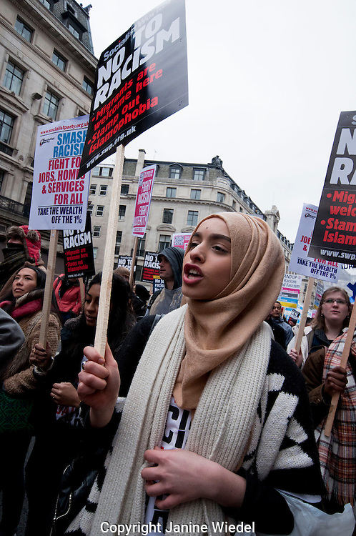 Thousands march through London on UN Anti-Racism Day protesting Racism, Fascism, Islamophobia  and anti-semitism. 21 march 2015