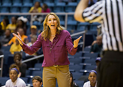 TCU Horned Frogs head coach Raegan Pebley argues a call against the West Virginia Mountaineers at the WVU Coliseum.