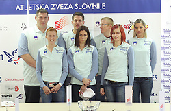 2nd line: Miro Vodovnik, Cene Subic, Matic Osovnikar and Snezana Rodic, 1st line: Sonja Roman, Marija Sestak and Nina Kolaric at press conference before departure of  Slovenian athletics team to European Athletics Indoor Championships Torino 2009, in Ljubljana, Slovenia, on March 4, 2009. (Photo by Vid Ponikvar / Sportida)
