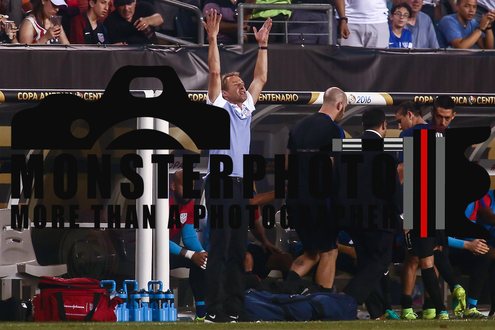 United States Manager JURGEN KLINSMANN argues from the side lines in the first half of a Copa America Centenario Group A match between the United States and Paraguay Saturday, June. 11, 2016 at Lincoln Financial Field in Philadelphia, PA.