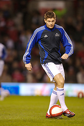 Manchester, England - Tuesday, March 13, 2007: Europe XI's Steven Gerrard warms-up before the UEFA Celebration Match against Manchester United at Old Trafford. (Pic by David Rawcliffe/Propaganda)